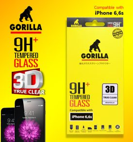 ฟิล์มกระจก iPhone 6s Gorilla New 3D true clear ขอบโค้ง