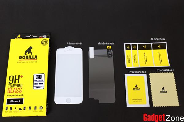 ฟิล์มกระจก แบบด้าน iphone 7 gorilla New 3D Real Curved เต็มจอคลุมขอบ