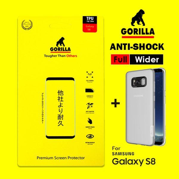 ฟิล์ม s8+ gorilla anti Shock เต็มจอ อ้อมหลัง